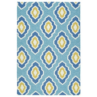 Handmade Indoor/ Outdoor Getaway Blue Geometric Rug (9' x 12')