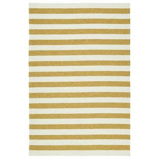 Handmade Indoor/ Outdoor Getaway Gold Stripes Rug (9' x 12')