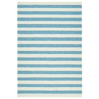 Handmade Indoor/ Outdoor Getaway Blue Stripes Rug (9' x 12')