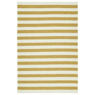 Handmade Indoor/ Outdoor Getaway Gold Stripes Rug (8' x 10')