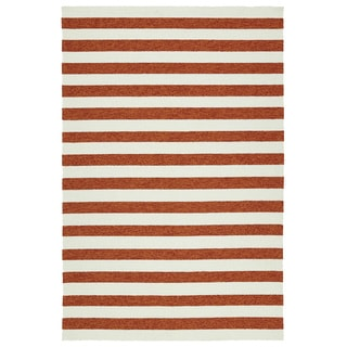 Handmade Indoor/ Outdoor Getaway Paprika Stripes Rug (9' x 12')