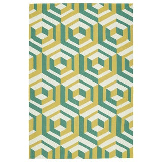 Handmade Indoor/ Outdoor Getaway Gold Geometric Rug (9' x 12')