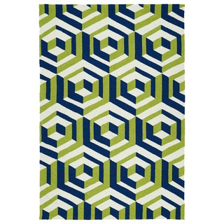 Handmade Indoor/ Outdoor Getaway Navy Geometric Rug (8' x 10')