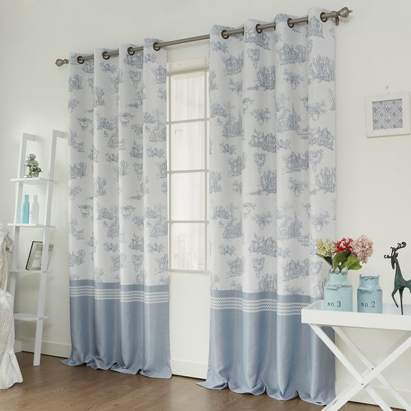 Lights Out Toile Printed Room Darkening Grommet Top Curtain