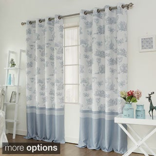 Aurora Home Toile Printed Room Darkening Grommet Top Curtain Panel Pair