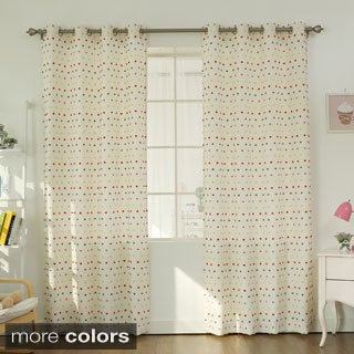 Lights Out Multicolored Fuzzy Dot Grommet Curtain Pair