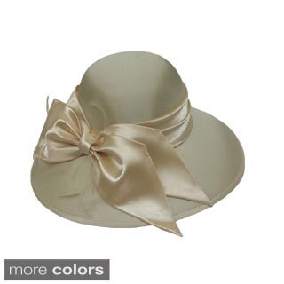 Swan Women's Dressy Silk Fabric Covered Hat with Silk Bow and Feathers