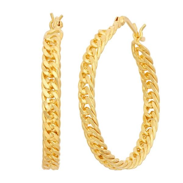Gioelli Sterling Silver Curb Chain Hoop Earrings