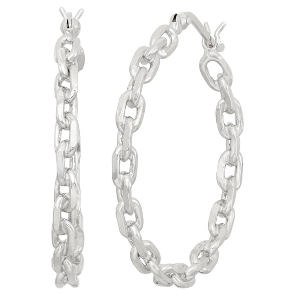 Gioelli Sterling Silver Link Chain Hoop Earrings