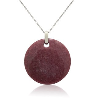 Gioelli Sterling Silver Round-cut Gemstone Medallion Necklace