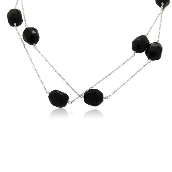 Gioelli Sterling Silver 36-inch Baroque-cut Black Onyx Necklace