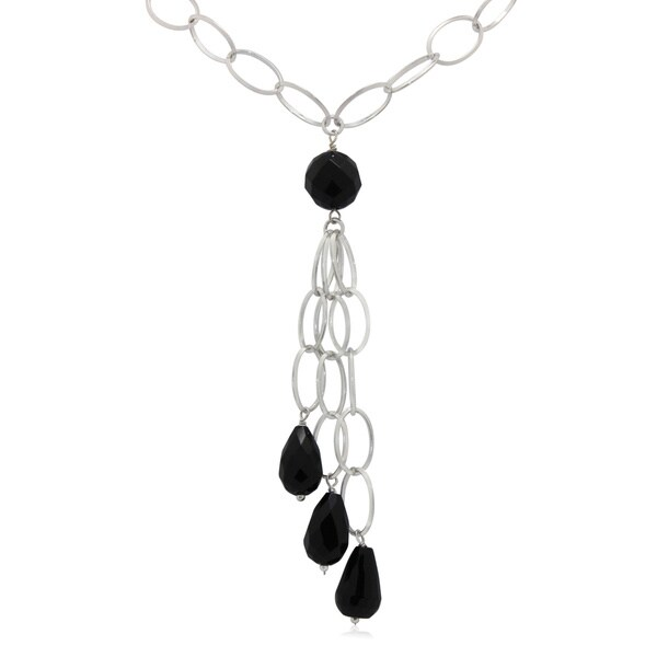 Gioelli Sterling Silver Faceted Black Onyx Lariat Necklace