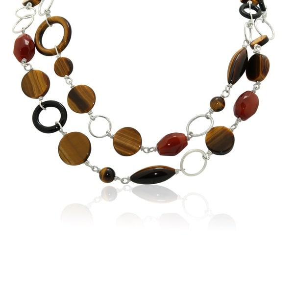 Gioelli Sterling Silver Agate and Tigers Eye Necklace