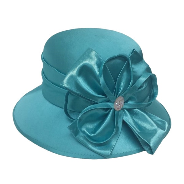 Swan Women's Turquoise Silk Fabric Covered Hat with Silk Bow and Stone