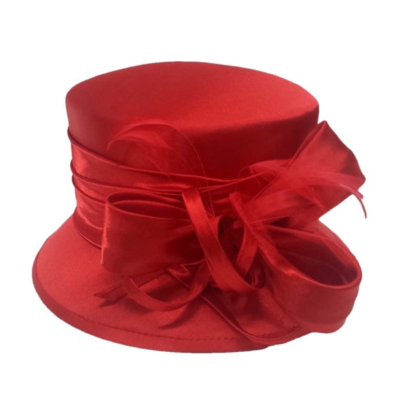 Swan Women's Red Silk Fabric Covered Hat with Silk Bow and Feathers
