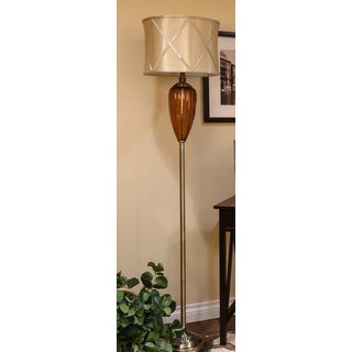 Somette Vanguard Series Amber Fluted Glass Vase Floor Lamp