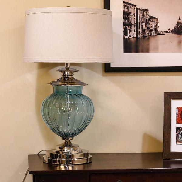 Somette Vanguard Series Aqua Fluted Round Glass Table Lamp
