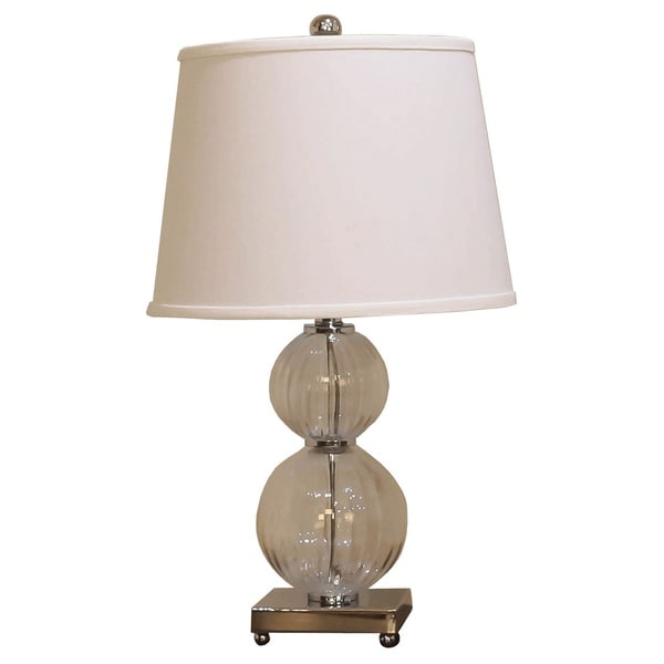 Somette Vanguard Series Clear Fluted Double Round Glass Table Lamp