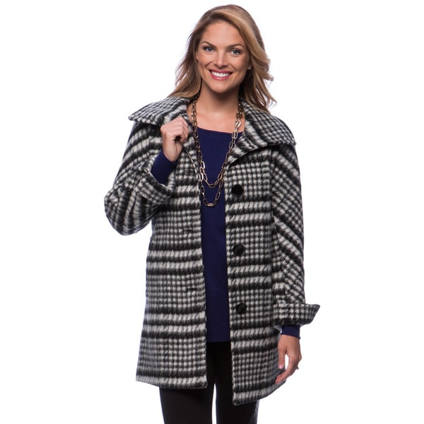 Ellen Tracy Women's Black/ White Brushed Plaid Coat