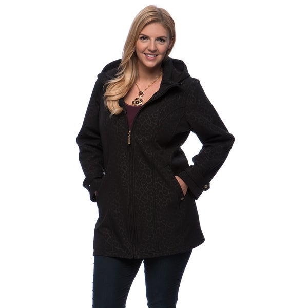 Ellen Tracy Plus Size Black Animal Print Soft Shell Coat
