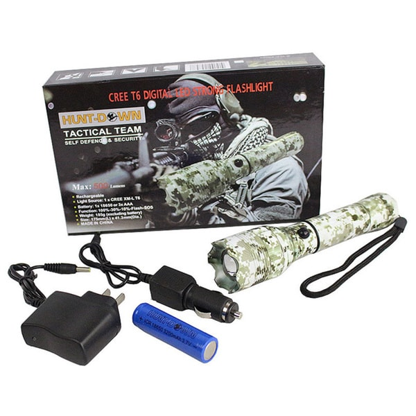 7-inch Hunt-down Snow Digital Camo CREE T6 XM-L 500 Lumens Flashlight