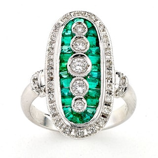 Diamonds for a Cure 18k White Gold Emerald 2/5ct TDW Diamond Oval Ring (H-I, SI1-SI2)