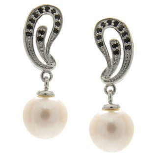 White Freshwater Pearl and Black Spinel Dangle Earrings (7-8 mm)
