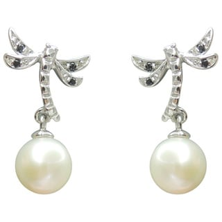 Freshwater Pearl and Spinel Dragonfly Dangle Earrings (7-8 mm)