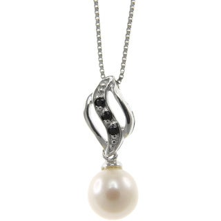 Freshwater Pearl and Spinel Waving Feather Necklace (7-8 mm)