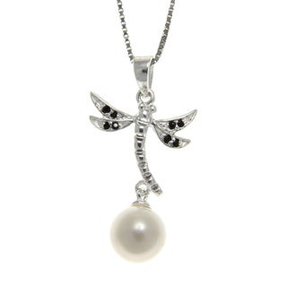 Freshwater Pearl and Spinel Dragonfly Necklace (7-8 mm)