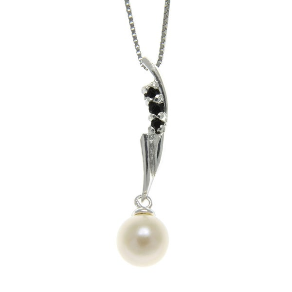 Freshwater Pearl and Spinel Bolt Necklace (6-7 mm)