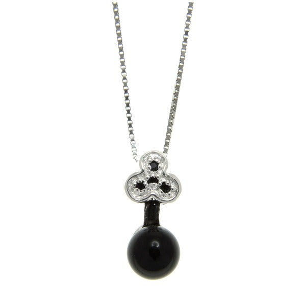 Black Onyx and Spinel Bow Key Pendant Necklace