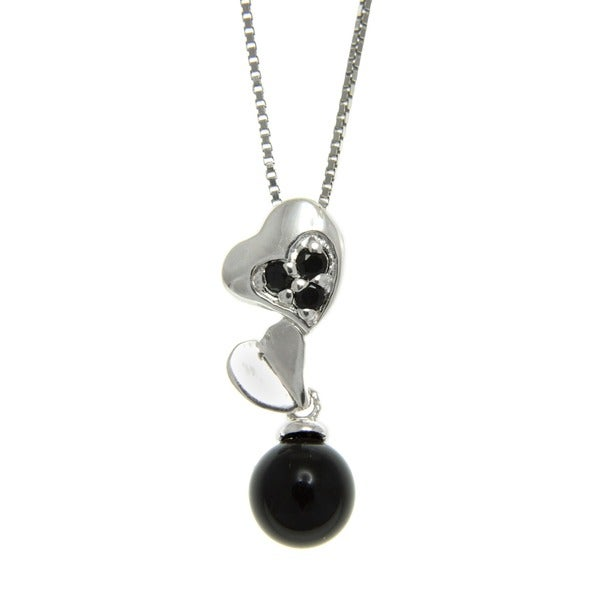 Black Onyx and Spinel Stacked Hearts Pendant Necklace