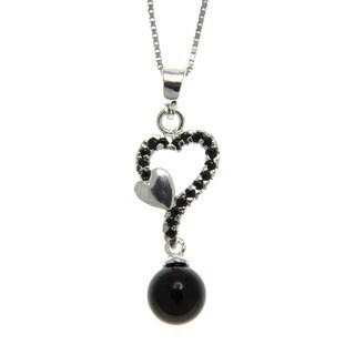 Black Onyx and Spinel Connected Hearts Pendant Necklace