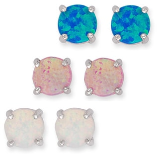 La Preciosa Sterling Silver Set of 3 Created Opal Circle Stud Earrings