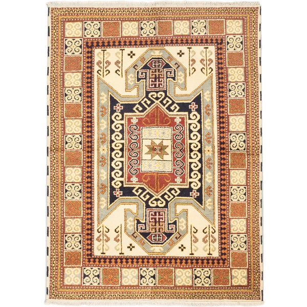 Ecarpetgallery Royal Kazak Cream Wool Medallion Rug Rectangular (5'7 x 7'8)
