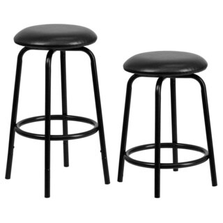 Backless Metal Dual Height Counter or Bar Stool with Leather Seat