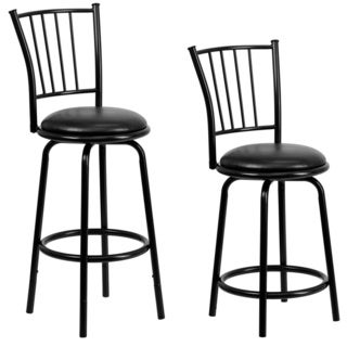 Black Metal 29-inch Dual Height Counter or Bar Stool with Black Leather Swivel Seat