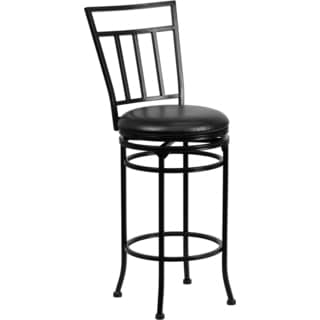 Black Metal 29-inch Bar Stool with Black Leather Swivel Seat