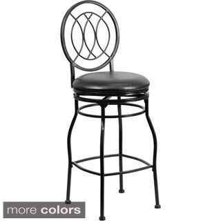 Metal 29-inch Bar Stool with Leather Swivel Seat