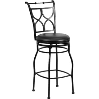 Black Metal Bar 29-inch Stool with Black Leather Swivel Seat