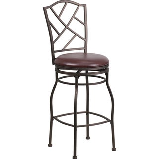 Brown 29-inch Metal Bar Stool with Brown Leather Swivel Seat