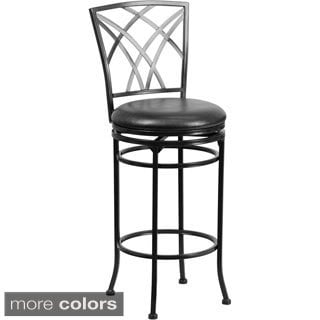 Metal Bar 29-inch Stool with Leather Swivel Seat