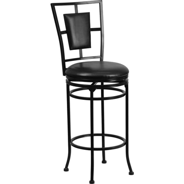 Metal Bar Stool with Leather Swivel Seat