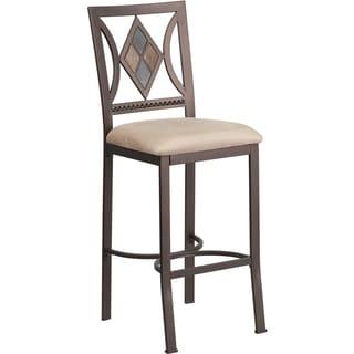 29-inch Brown Metal Bar Stool with Beige Microfiber Seat