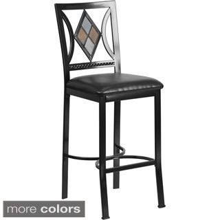 29-inch Metal Bar Stool with Leather Seat