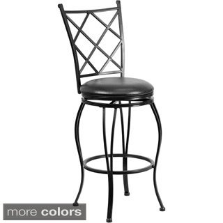 29-inch Metal Bar Stool with Leather Swivel Seat