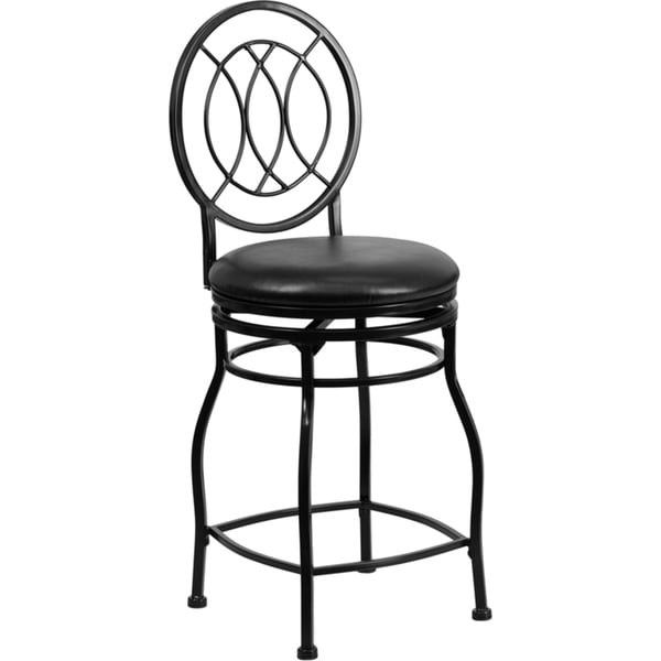 Black 24-inch Metal Counter Height Stool with Black Leather Swivel ...