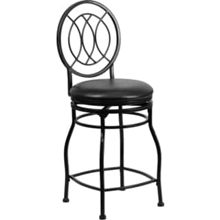 Black 24-inch Metal Counter Height Stool with Black Leather Swivel Seat