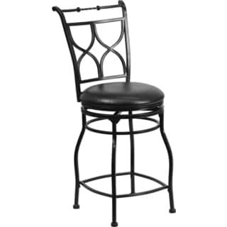 24-inch Black Metal Counter Height Stool with Black Leather Swivel Seat